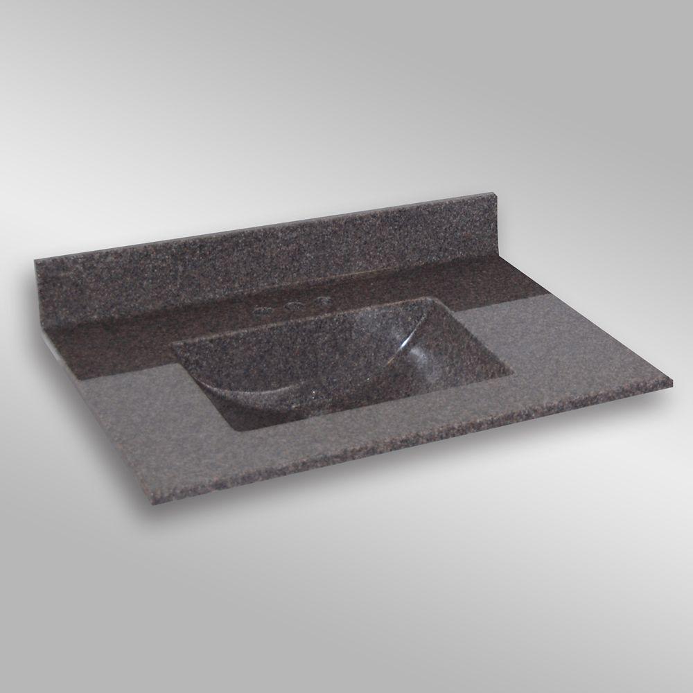 Wave 37-Inch W x 22-Inch D Granite Centre Basin Vanity Top in Mystique
