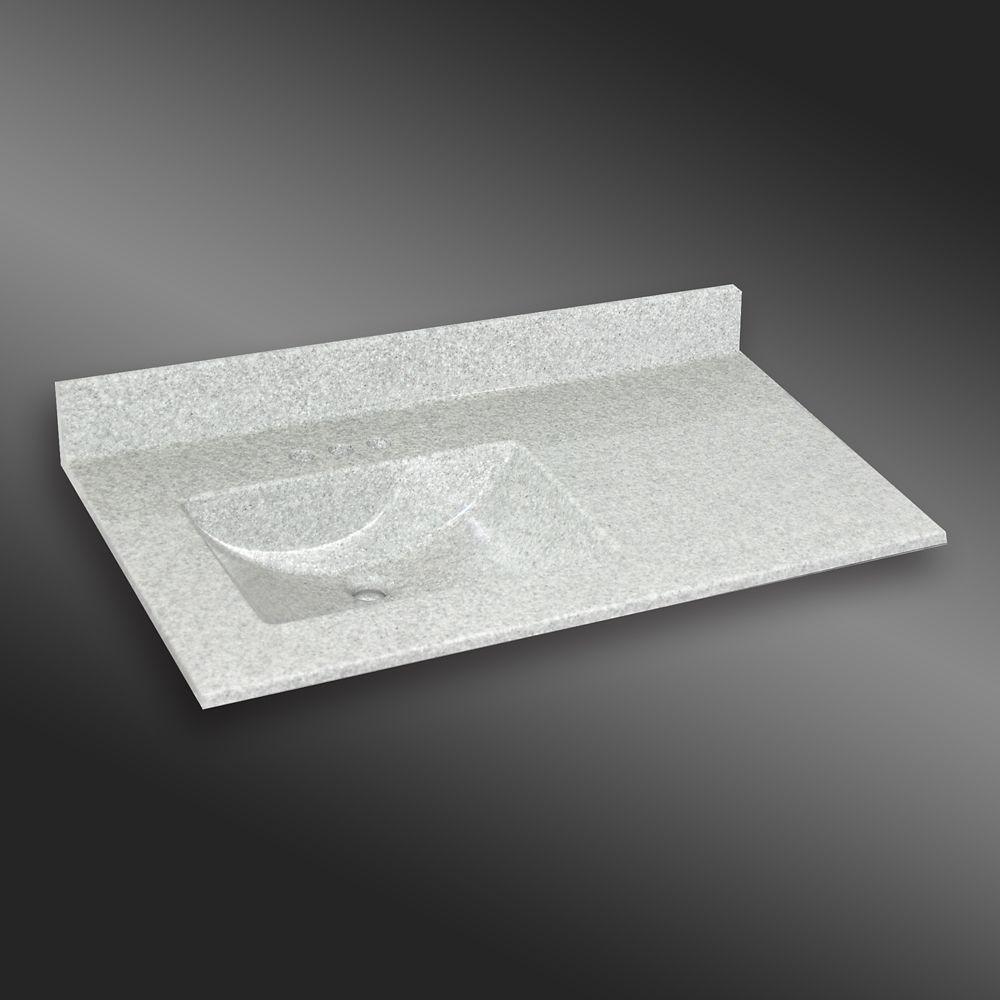Wave 37-Inch W x 22-Inch D Granite Left-Hand Basin Vanity Top in Willow Mist