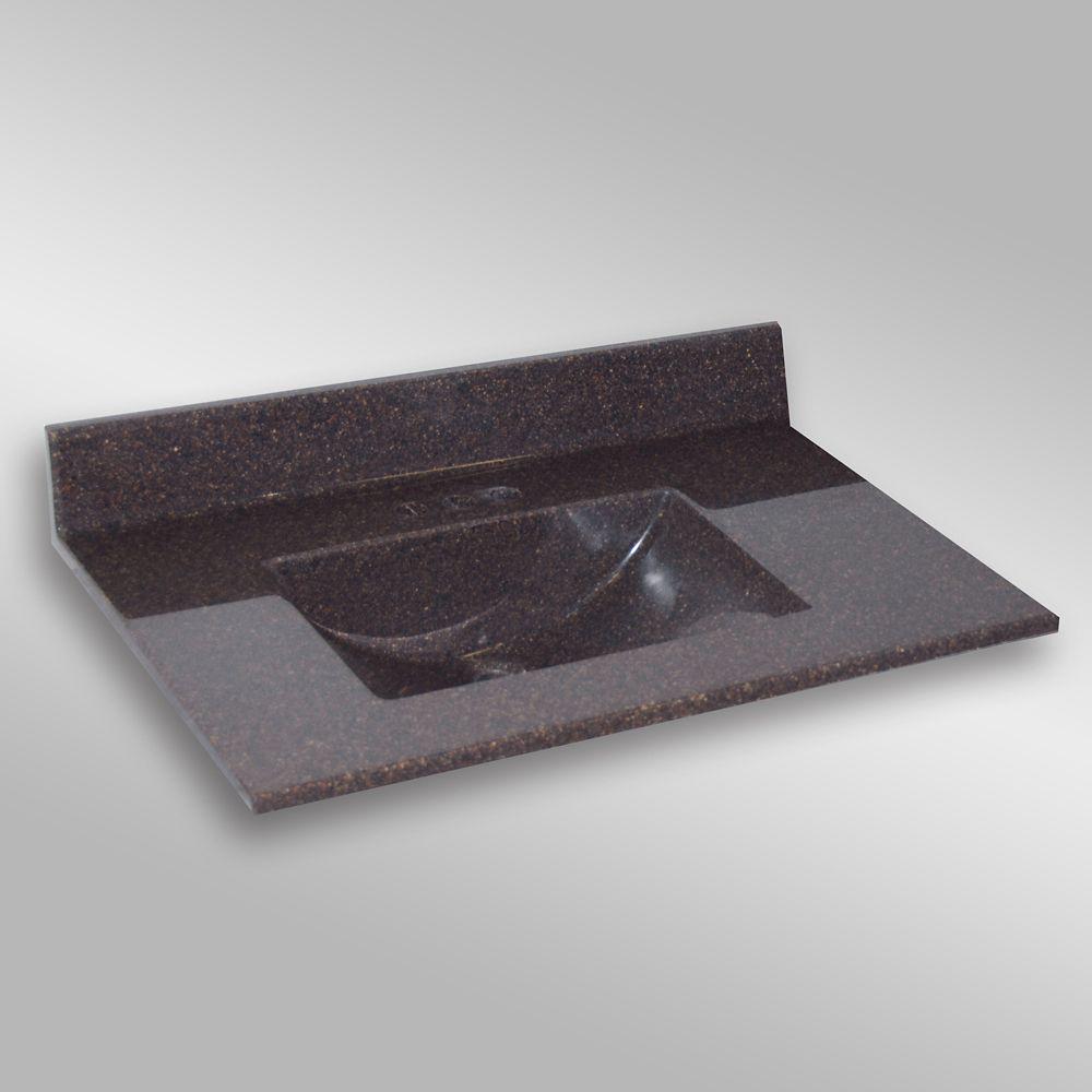 Wave 37-Inch W x 22-Inch D Granite Centre Basin Vanity Top in Espresso