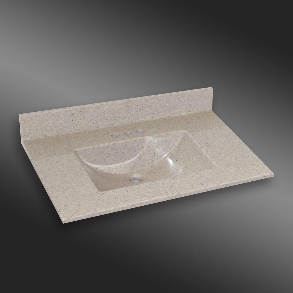 Wave 37-Inch W x 22-Inch D Granite Centre Basin Vanity Top in Irish Cream