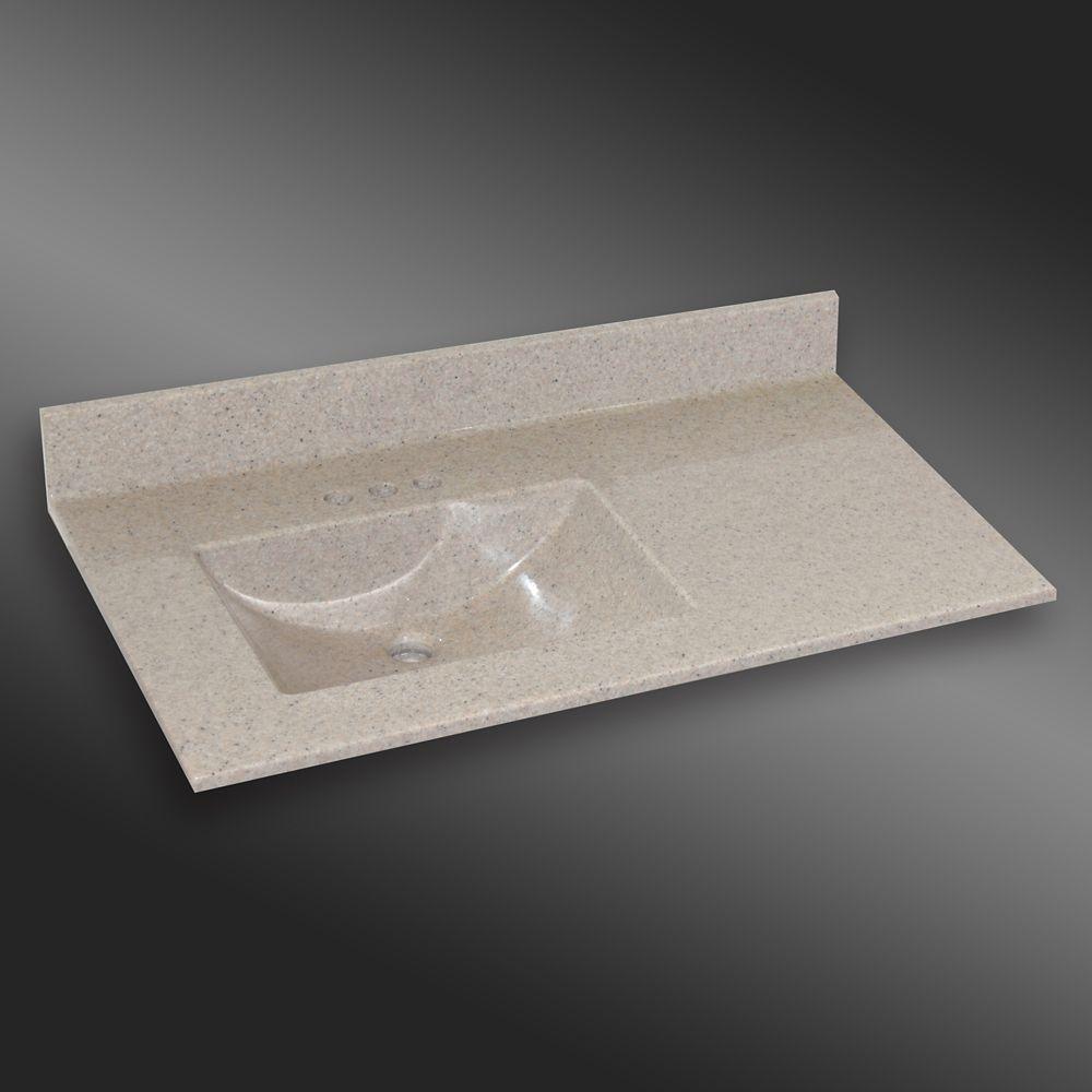 Wave 37-Inch W x 22-Inch D Granite Left-Hand Basin Vanity Top in Irish Cream