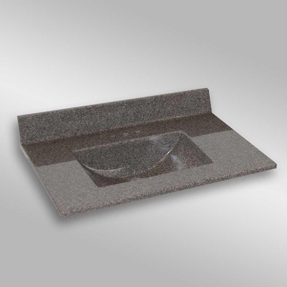 Wave 37-Inch W x 22-Inch D Granite Centre Basin Vanity Top in Carioca Stone