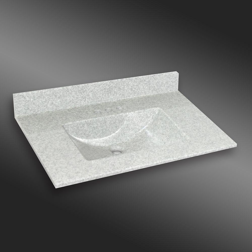 Ondulé lavabo centré, PG907- Brume de Willow- 37 x 22 pouces