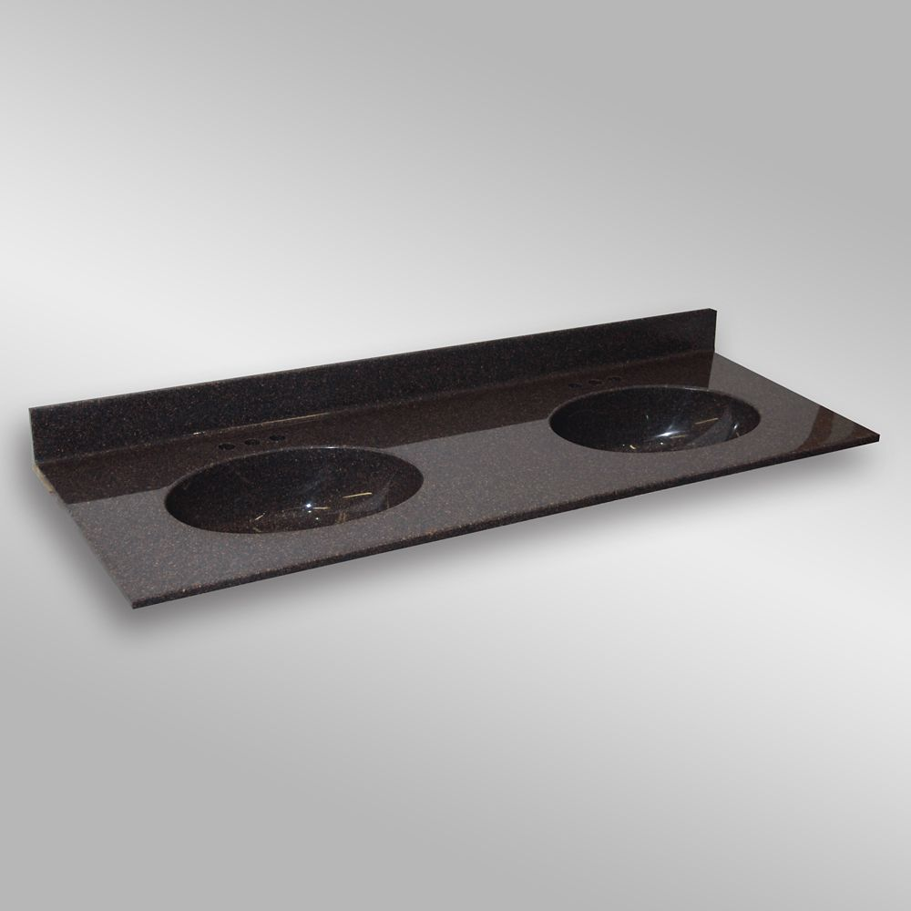 Malibu Double Basin, PG133 Espresso- 61 x 22 inches 61D MALIBU PG133 Canada Discount