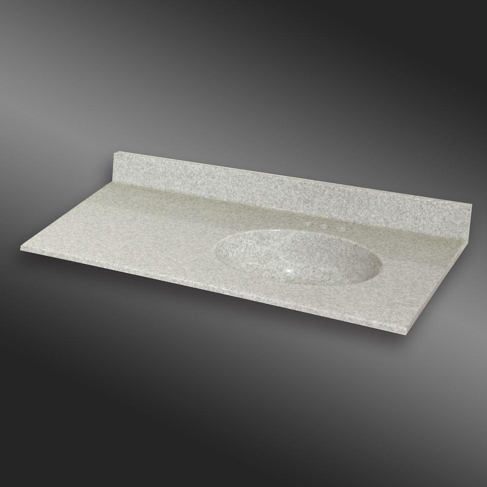Malibu 49-Inch W x 22-Inch D Granite Right-Hand Basin Vanity Top in Willow Mist