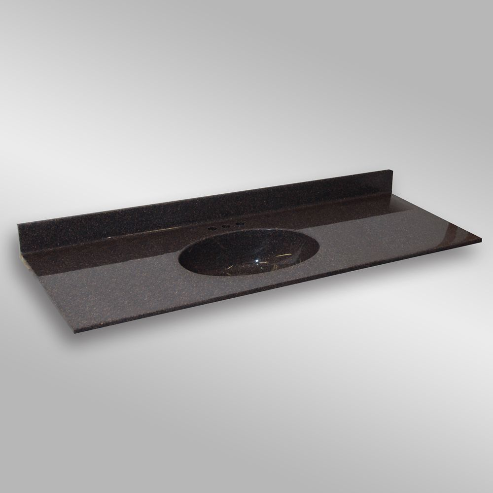 Malibu 61-Inch W x 22-Inch D Granite Centre Basin Vanity Top in Espresso