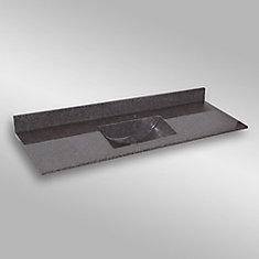 Wave 61-Inch W x 22-Inch D Granite Centre Basin Vanity Top in Mystique