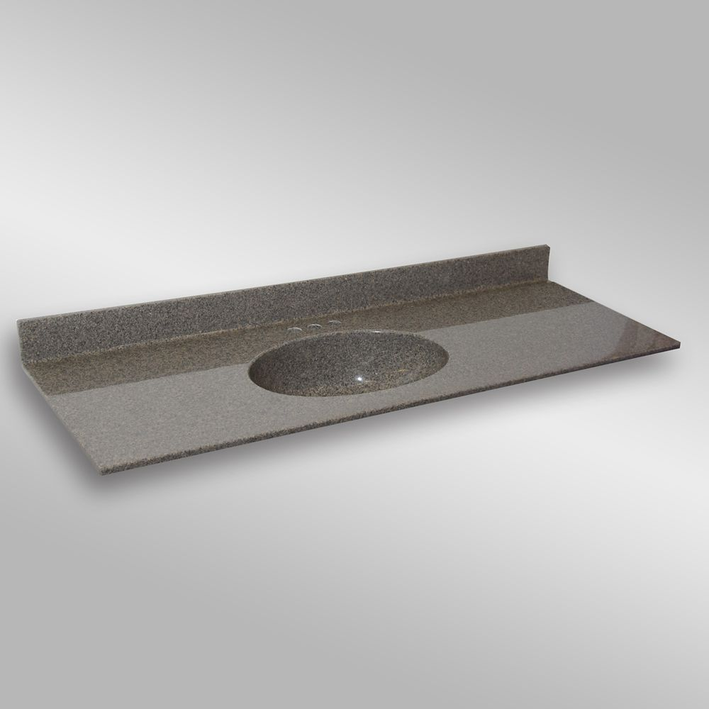 Malibu 61-Inch W x 22-Inch D Granite Centre Basin Vanity Top in Carioca Stone