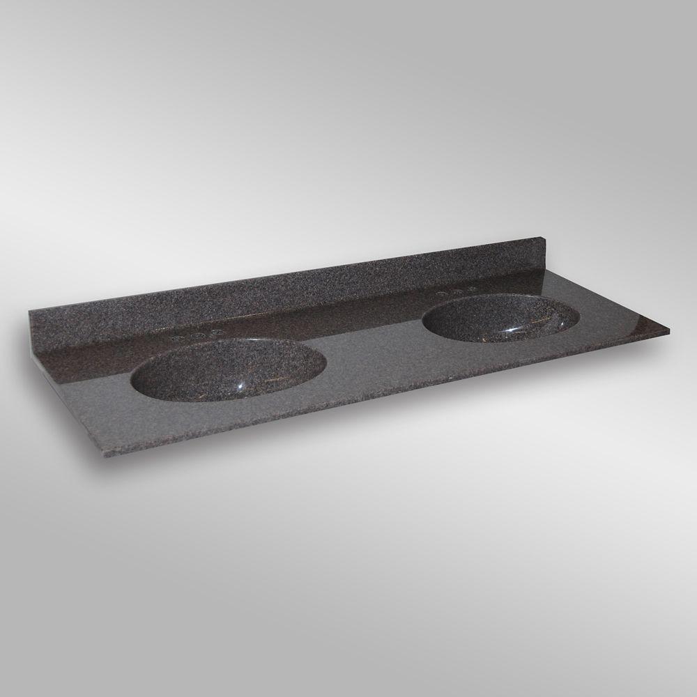 Malibu 61-Inch W x 22-Inch D Granite Double Basin Vanity Top in Mystique