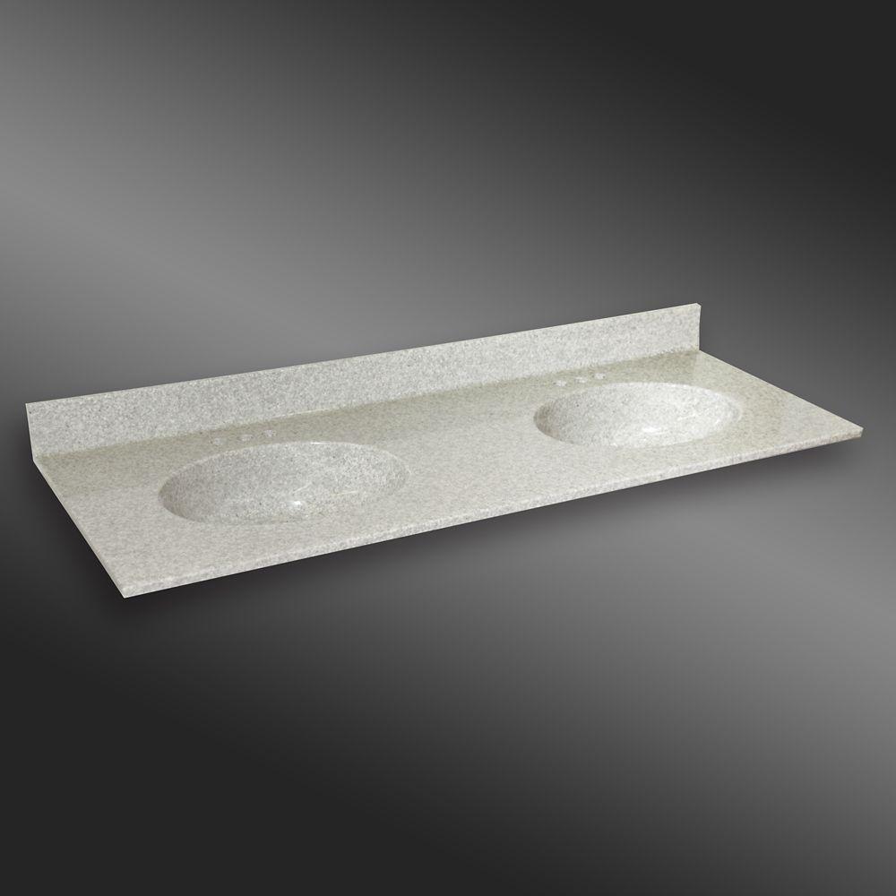 Malibu 61-Inch W x 22-Inch D Granite Double Basin Vanity Top in Willow Mist
