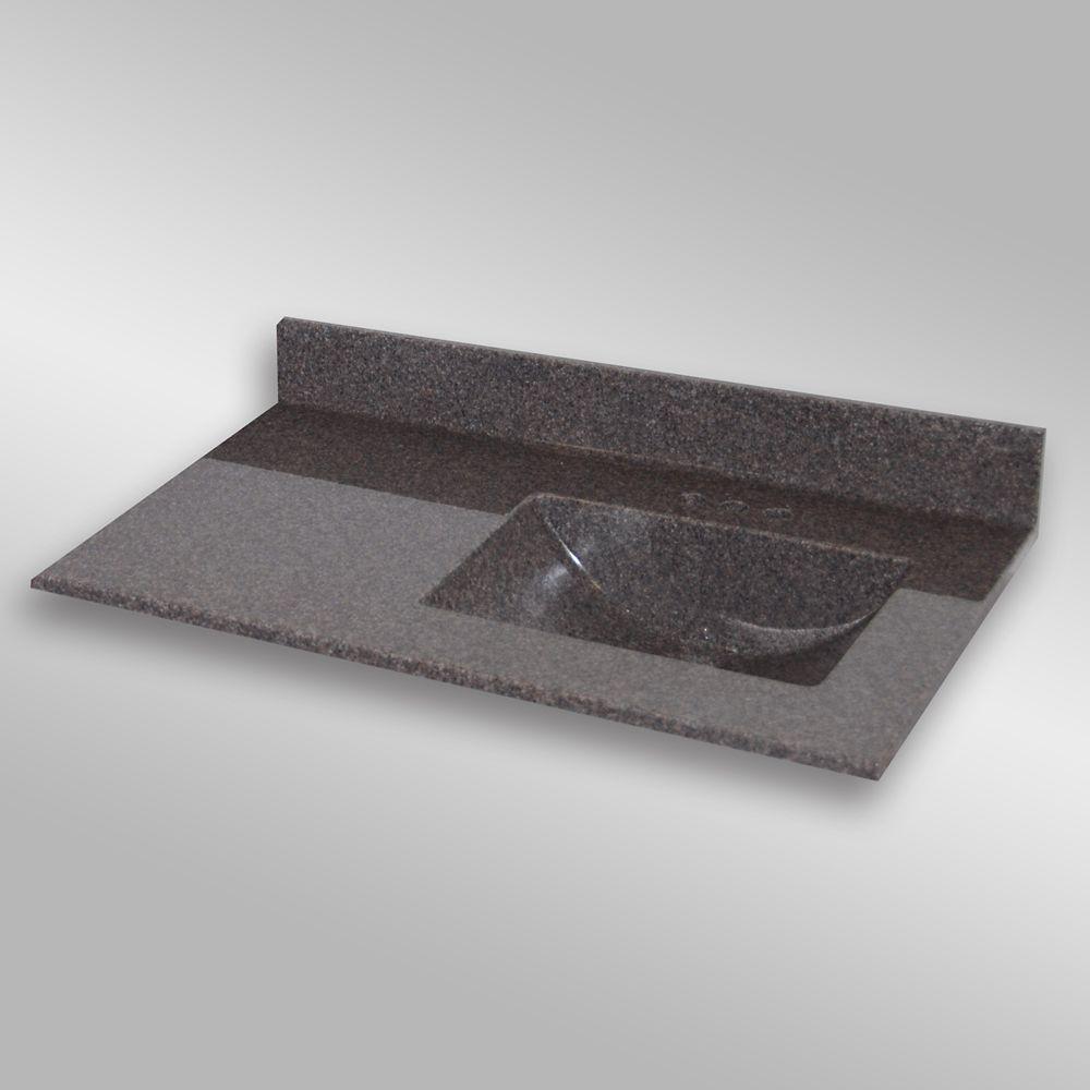 Wave 37-Inch W x 22-Inch D Granite Right-Hand Basin Vanity Top in Mystique