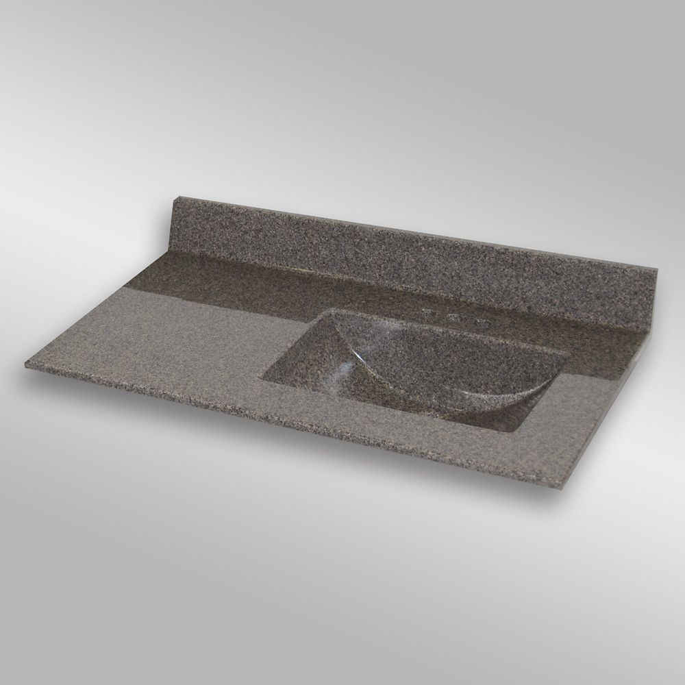 Wave 37-Inch W x 22-Inch D Granite Right-Hand Basin Vanity Top in Carioca Stone