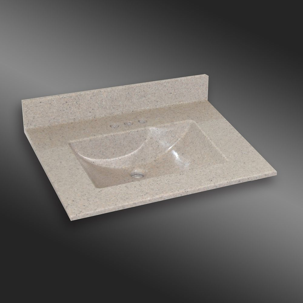 Wave 31-Inch W x 22-Inch D Granite Centre Basin Vanity Top in Irish Cream