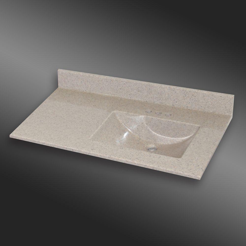 Wave 37-Inch W x 22-Inch D Granite Right-Hand Basin Vanity Top in Irish Cream