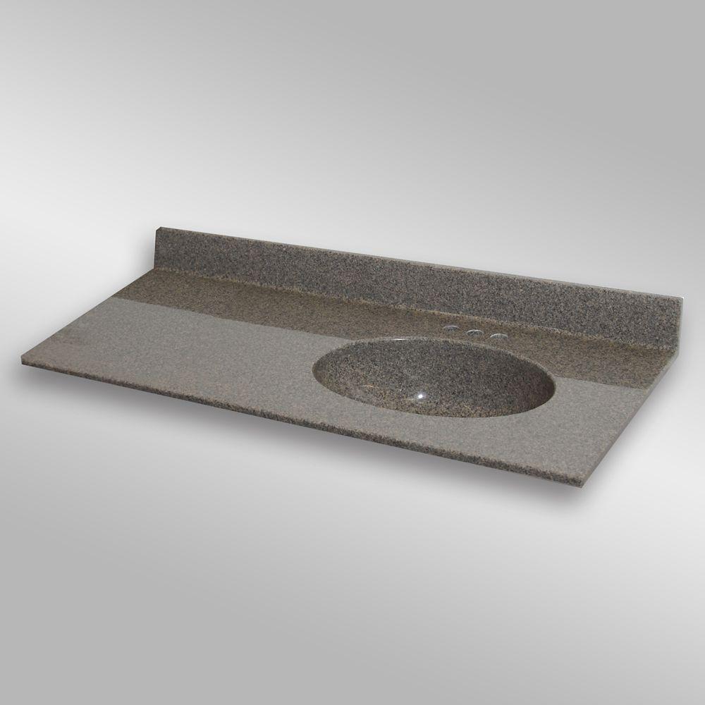 Malibu 49-Inch W x 22-Inch D Granite Right-Hand Basin Vanity Top in Carioca Stone
