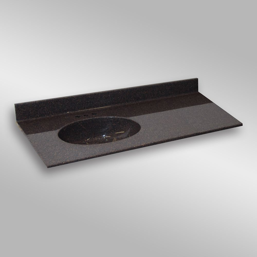 Malibu 49-Inch W x 22-Inch D Granite Left-Hand Basin Vanity Top in Espresso