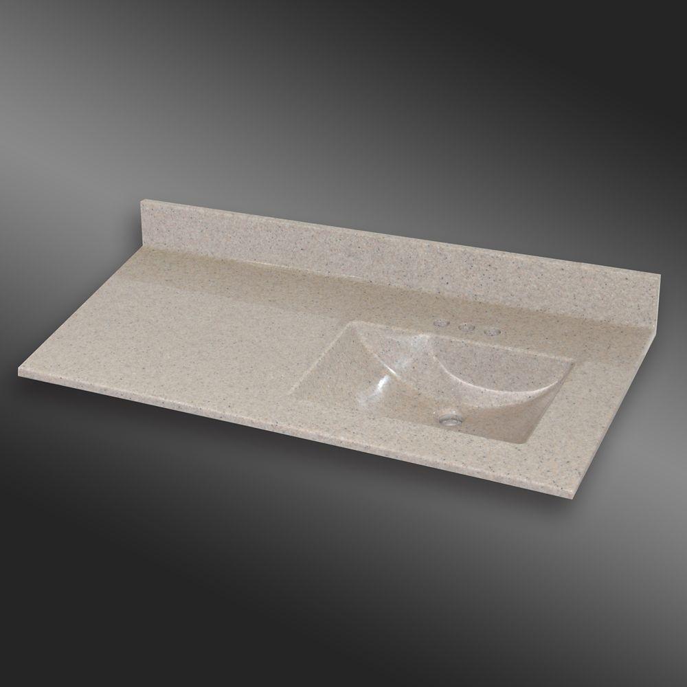 Wave 49-Inch W x 22-Inch D Granite Right-Hand Basin Vanity Top in Irish Cream