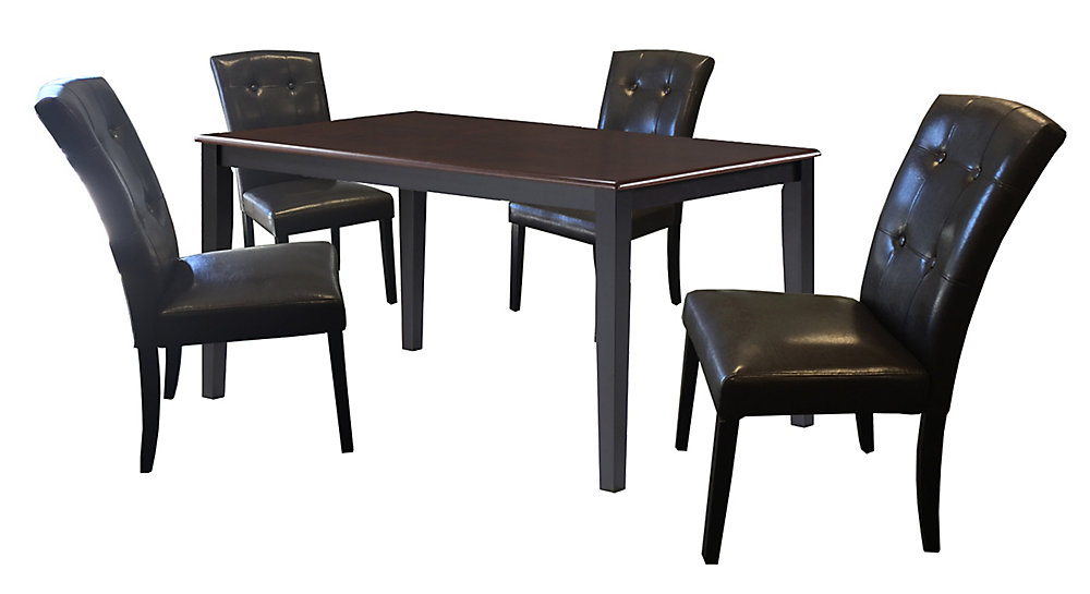 35 5 Inch X 59 Inch Solid Wood Dining Table In Black With 4 Leather Chairs In Black