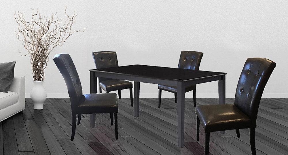 Wood Veneer Board Top Dining Table Set Set Of 5