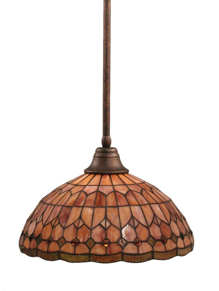 Concord 1-Light Ceiling Bronze Pendant with a Rosetta Tiffany Glass