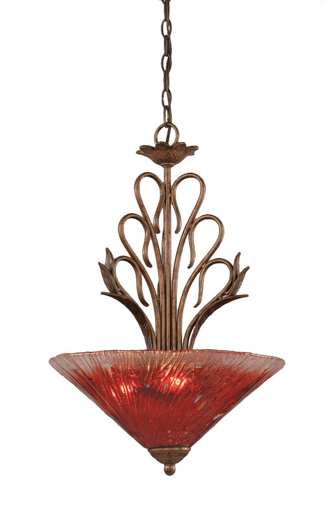 Concord 3 Light Ceiling Bronze Incandescent Pendant with a Raspberry Crystal Glass