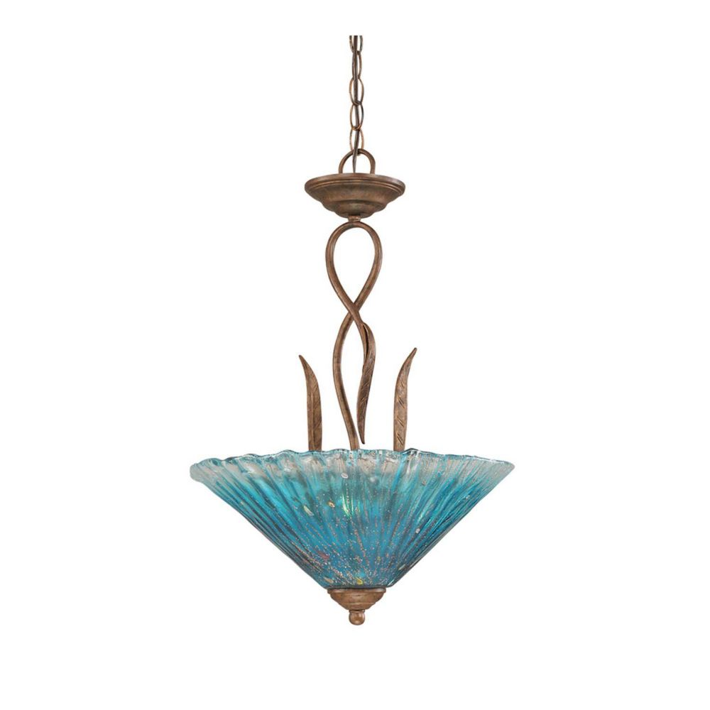 Concord 3-Light Ceiling Bronze Pendant with a Teal Crystal Glass