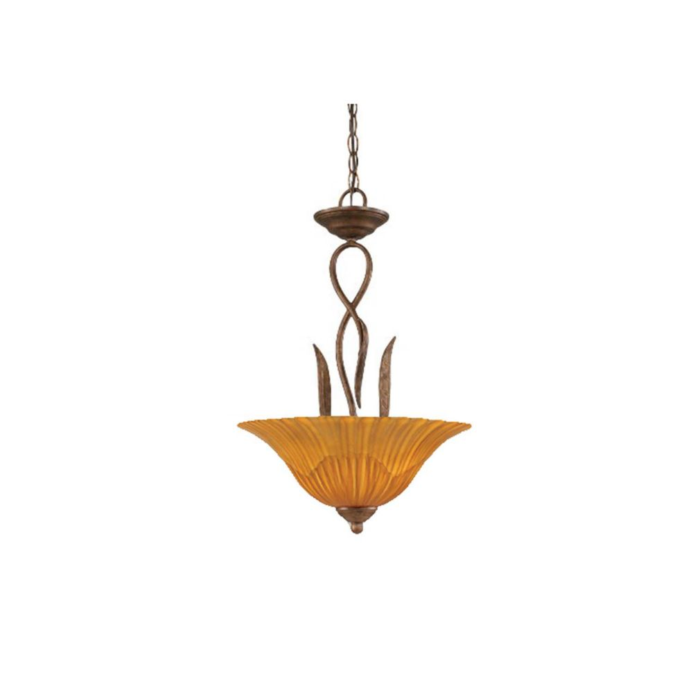 Concord 3 Light Ceiling Bronze Incandescent Pendant with a Tiger Glass