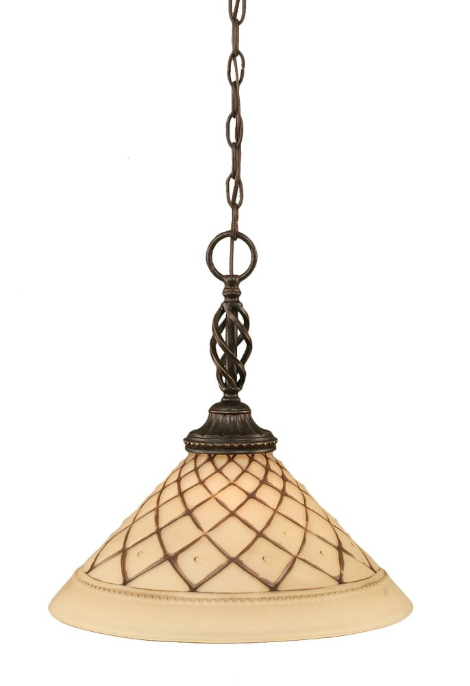 Concord 1-Light Ceiling Dark Granite Pendant with a Chocolate Icing Glass
