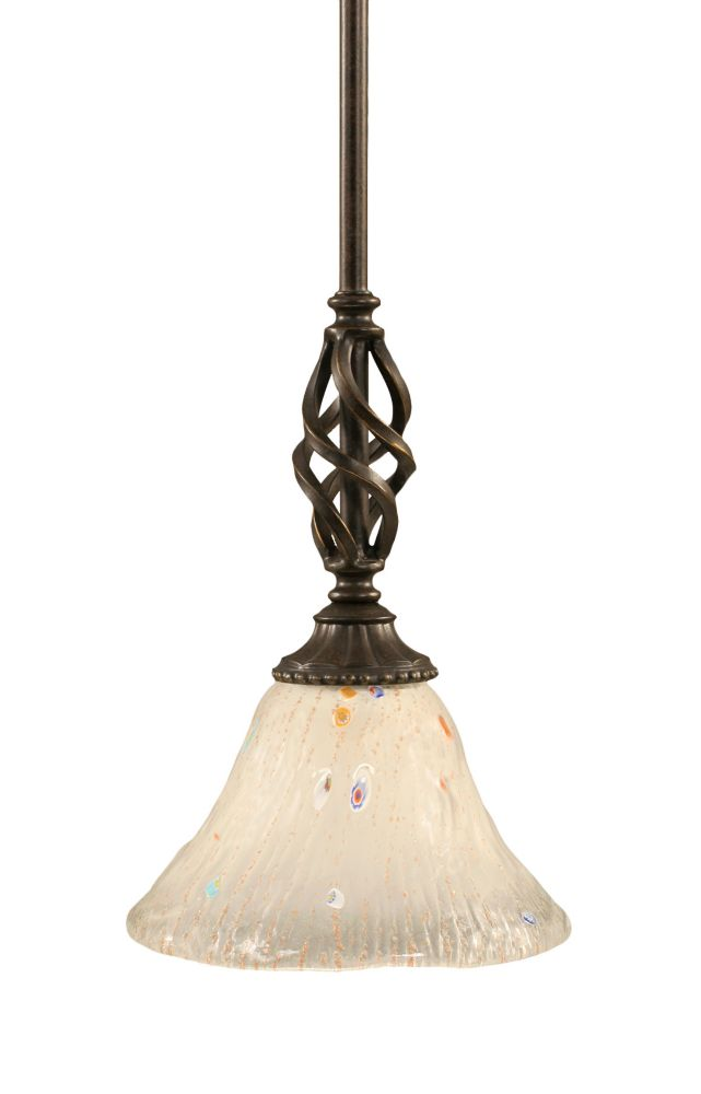 Concord 1-Light Ceiling Dark Granite Pendant with a Frosted Crystal Glass