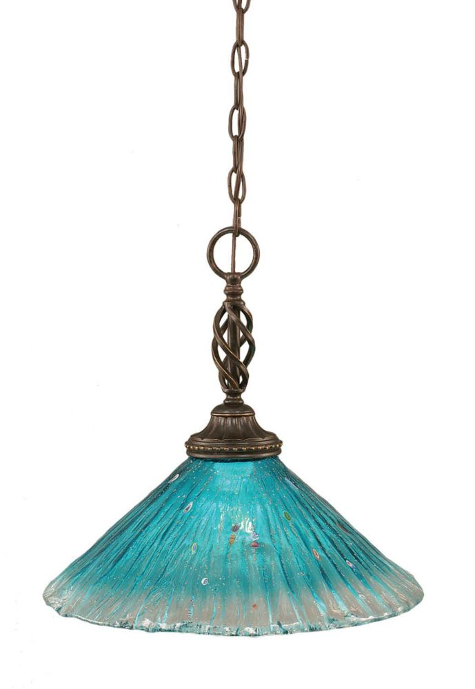 Concord 1 Light Ceiling Dark Granite Incandescent Pendant with a Teal Crystal Glass