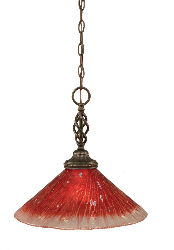 Concord 1-Light Ceiling Dark Granite Pendant with a Raspberry Crystal Glass