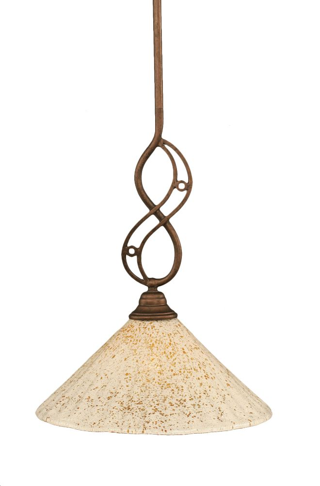 Concord 1-Light Ceiling Bronze Pendant with a Gold Crystal Glass