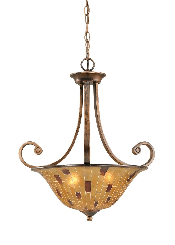 Concord 3-Light Ceiling Bronze Pendant with a Penshell Resin Glass