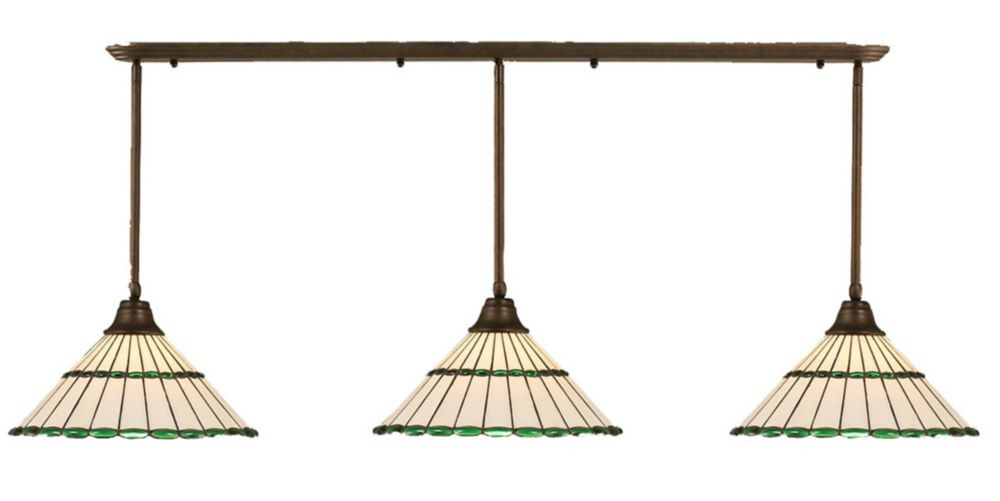 Concord 3 Light Ceiling Bronze Incandescent Pendant with a Honey and Green Tiffany Glass