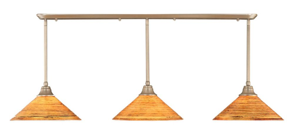 Concord 3 Light Ceiling Brushed Nickel Incandescent Pendant with a Firré Saturn Glass