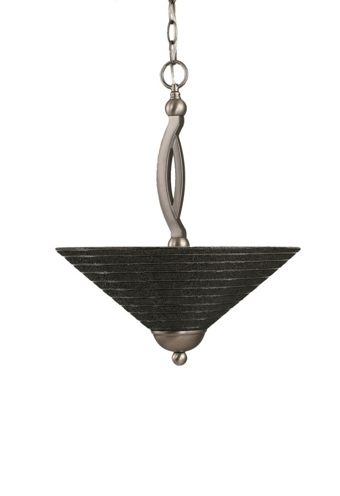 Concord 2-Light Ceiling Brushed Nickel Pendant with a Charcoal Spiral Glass