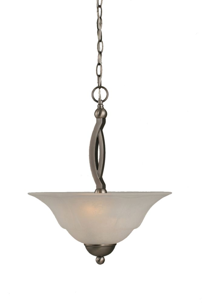 Concord 2-Light Ceiling Brushed Nickel Pendant with a White Marble Glass