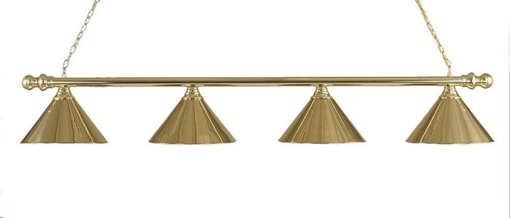 Concord 4 Light Ceiling Polished Brass Incandescent Billiard Bar with a Polished Brass Glass