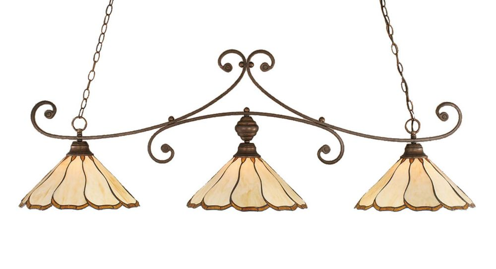 Concord 3 Light Ceiling Bronze Incandescent Billiard Bar with a Honey and Brown Tiffany Glass