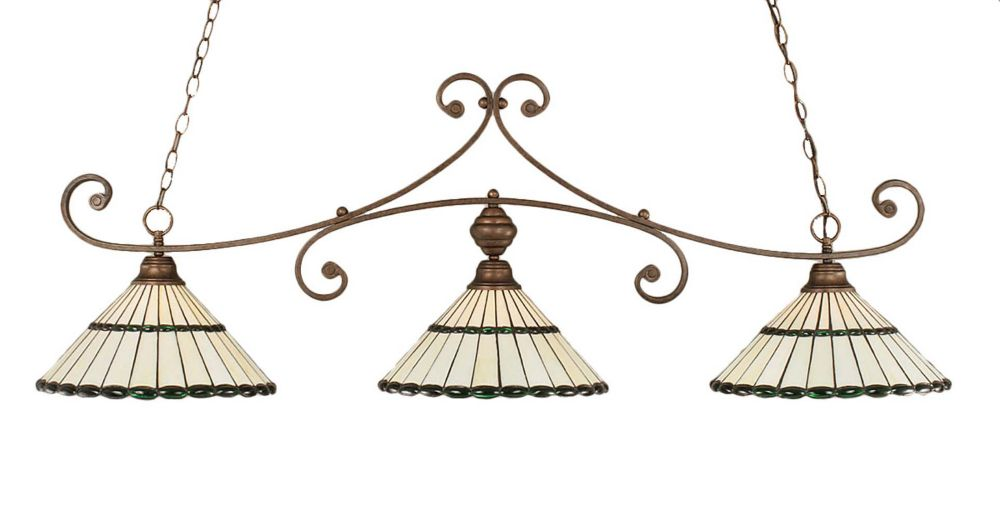 Concord 3-Light Ceiling Bronze Billiard Bar with a Honey and Green Tiffany Glass