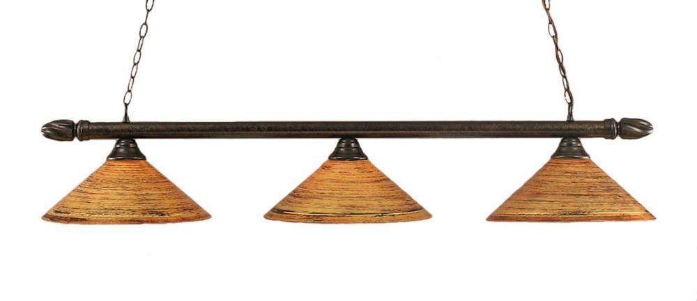 Concord 3-Light Ceiling Bronze Billiard Bar with a Firré Saturn Glass
