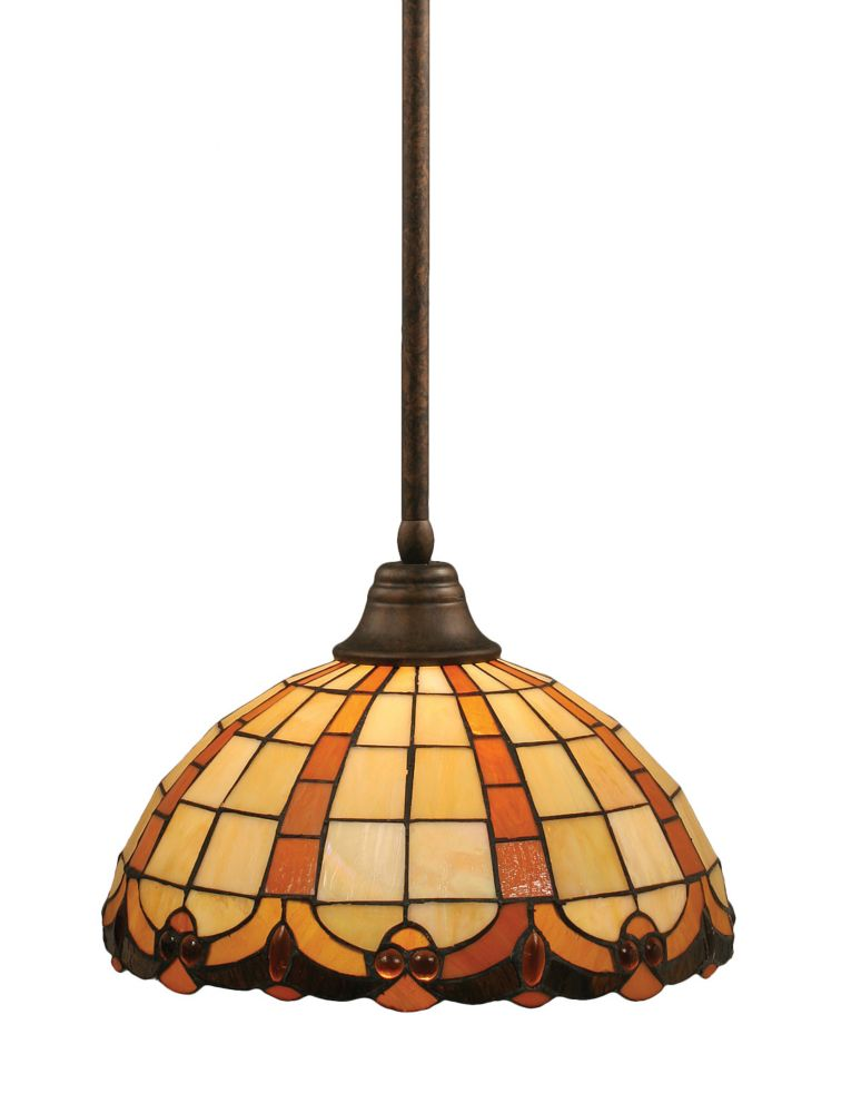 Concord 1 Light Ceiling Bronze Incandescent Pendant with a Butterscotch Tiffany Glass