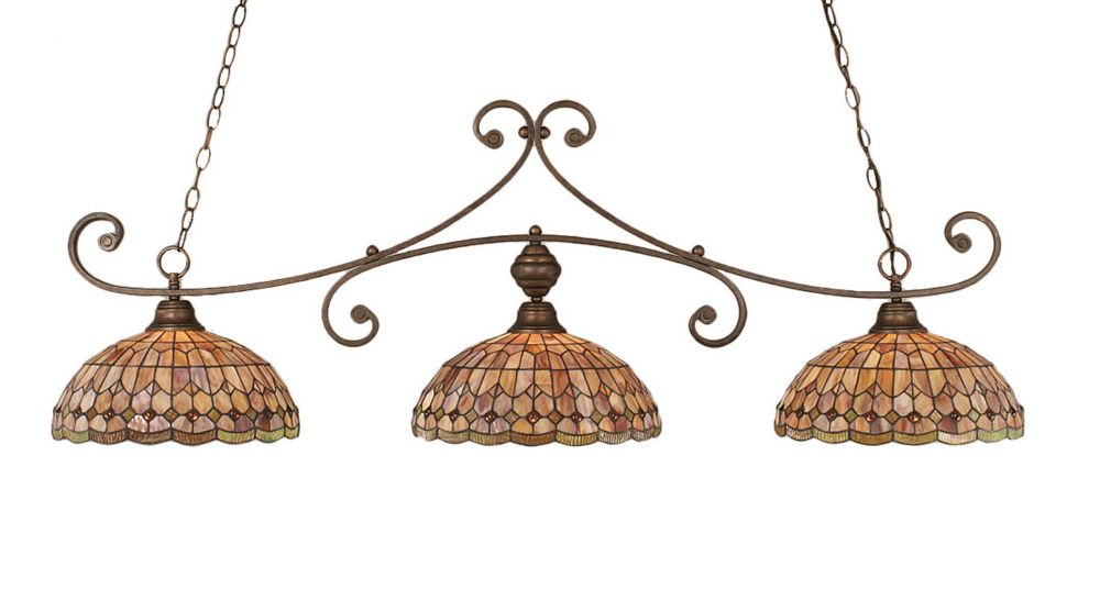 Concord 3-Light Ceiling Bronze Billiard Bar with a Rosetta Tiffany Glass