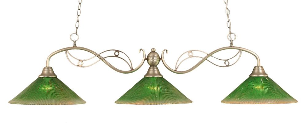 Concord 3 Light Ceiling Brushed Nickel Incandescent Billiard Bar with a Green Crystal Glass