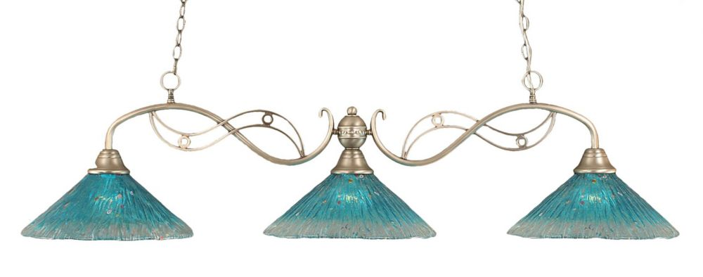 Concord 3 Light Ceiling Brushed Nickel Incandescent Billiard Bar with a Teal Crystal Glass