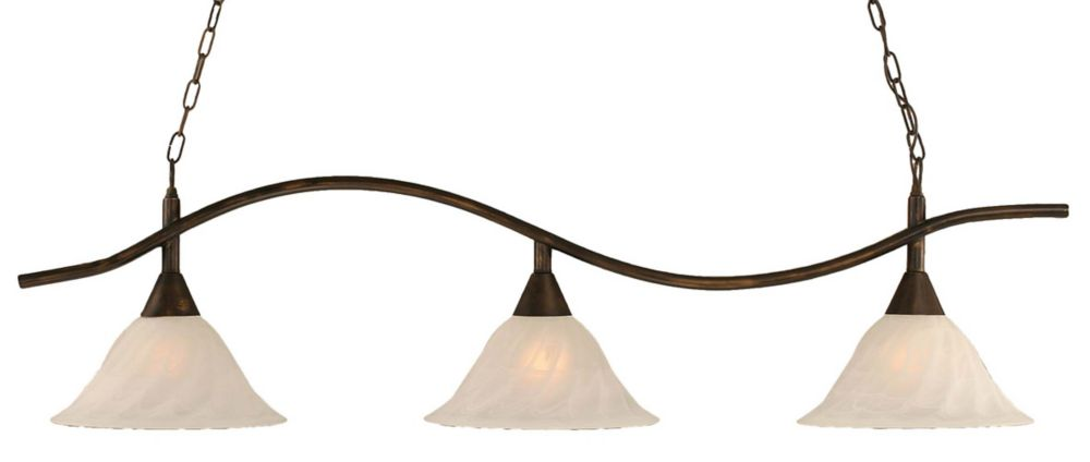 Concord 3 Light Ceiling Bronze Incandescent Billiard Bar with an Alabaster Glass