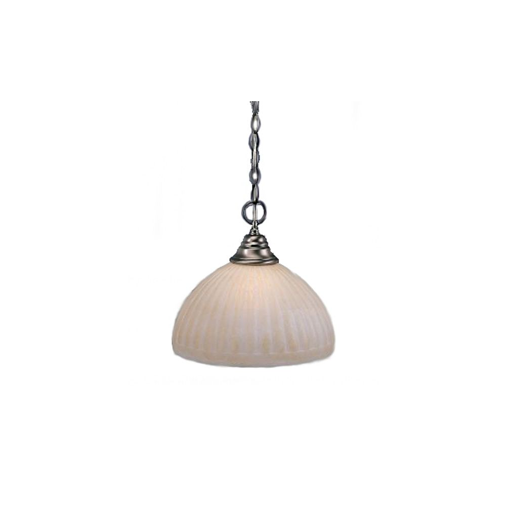 Concord 1-Light Ceiling Brushed Nickel Pendant with a Rosetta Pumpkin Glass