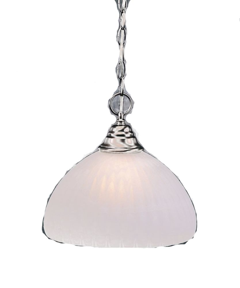 Concord 1-Light Ceiling Brushed Nickel Pendant with an Alabaster Glass