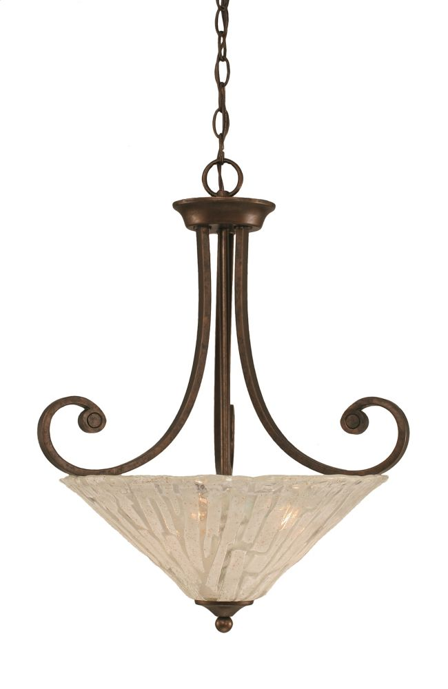 Concord 3-Light Ceiling Bronze Pendant with a Clear Crystal Glass