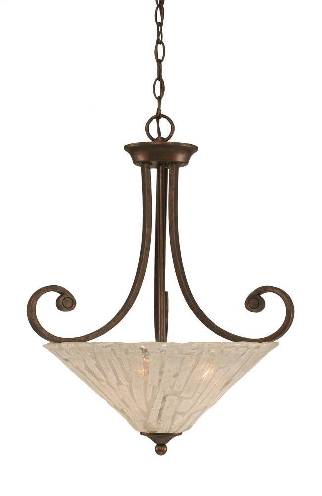 Concord 3 lumières plafond Bronze Pendeloque incandescence par une verre cristal